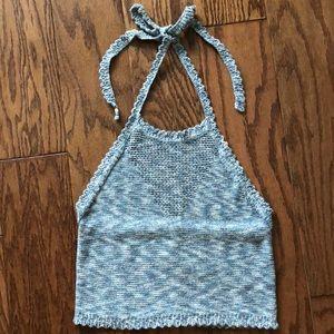Aerie sweater halter crop top size medium